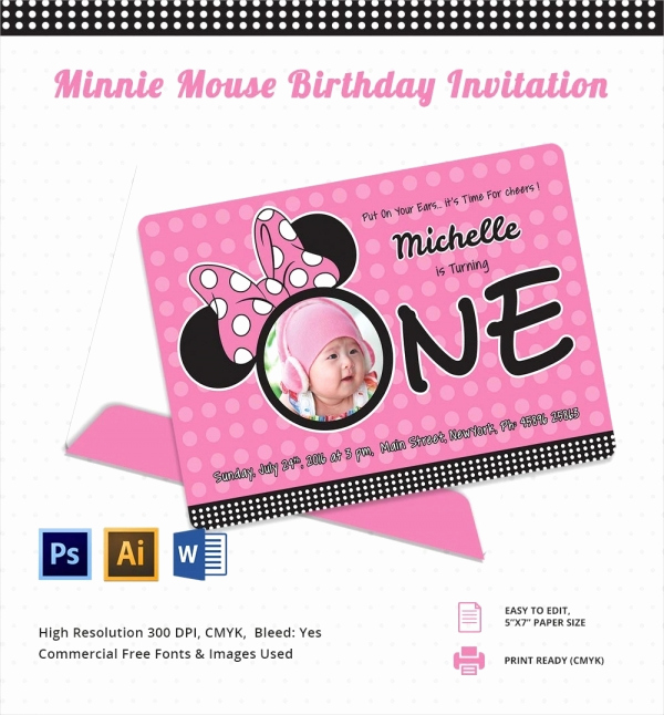 Minnie Mouse Invitation Maker Awesome Awesome Minnie Mouse Invitation Template 27 Free Psd
