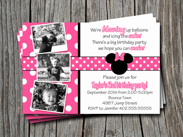 Minnie Mouse Invitation Maker Best Of Custom Minnie or Mickey Mouse Pink & Black Polka Dot