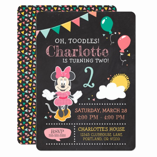 Minnie Mouse Invitation Maker Best Of Minnie Mouse Birthday Chalkboard Invitation