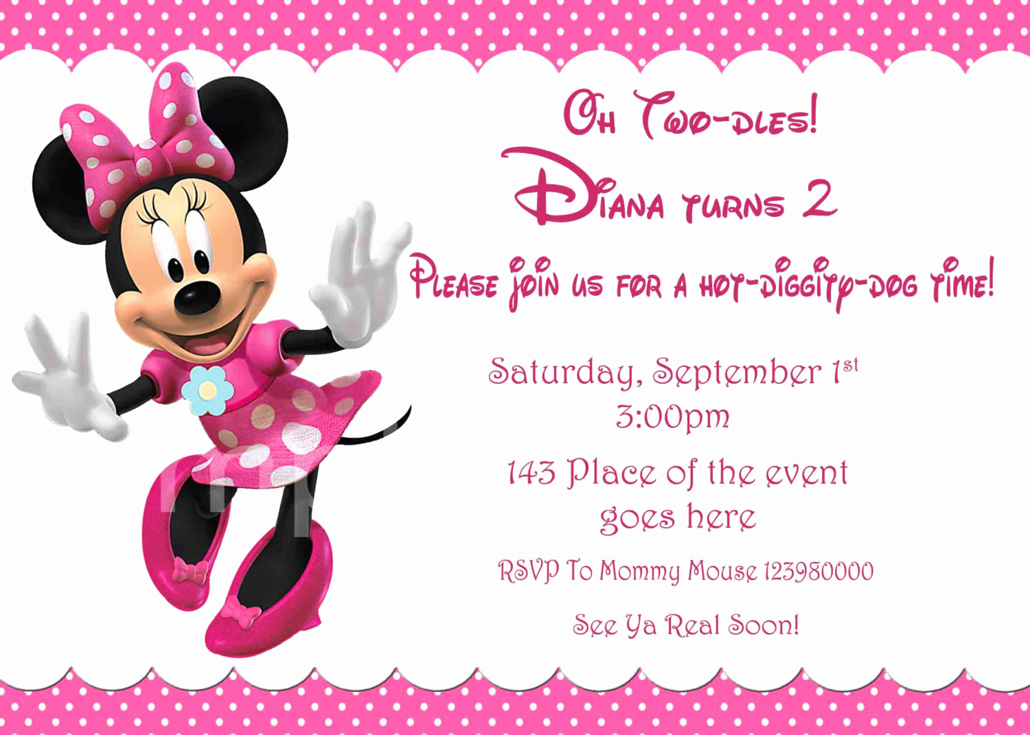 Minnie Mouse Invitation Maker Elegant Minnie Mouse Invitation Minnie Mouse Birthday Invitation