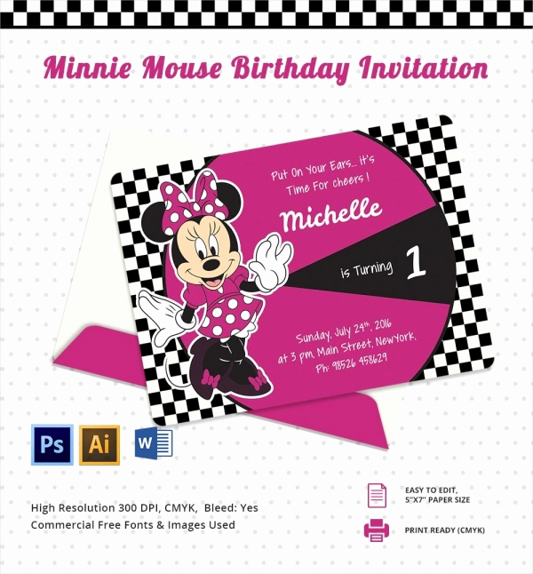 Minnie Mouse Invitation Maker Fresh Awesome Minnie Mouse Invitation Template 27 Free Psd