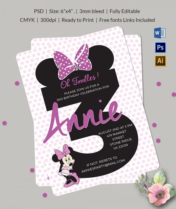 Minnie Mouse Invitation Maker Inspirational Awesome Minnie Mouse Invitation Template 27 Free Psd