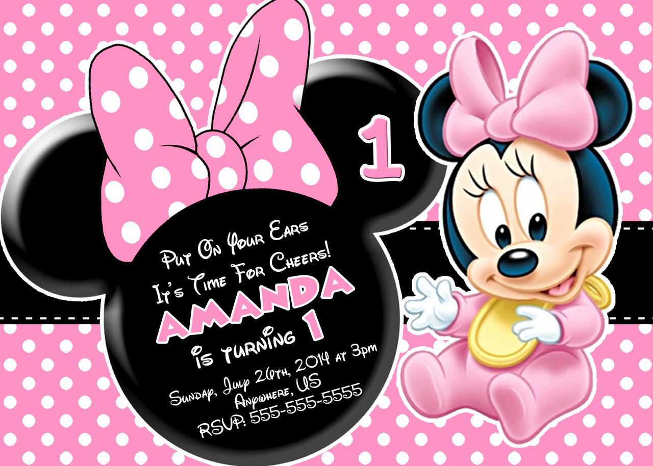 Minnie Mouse Invitation Template Beautiful Free Minnie Mouse First Birthday Invitations Printable