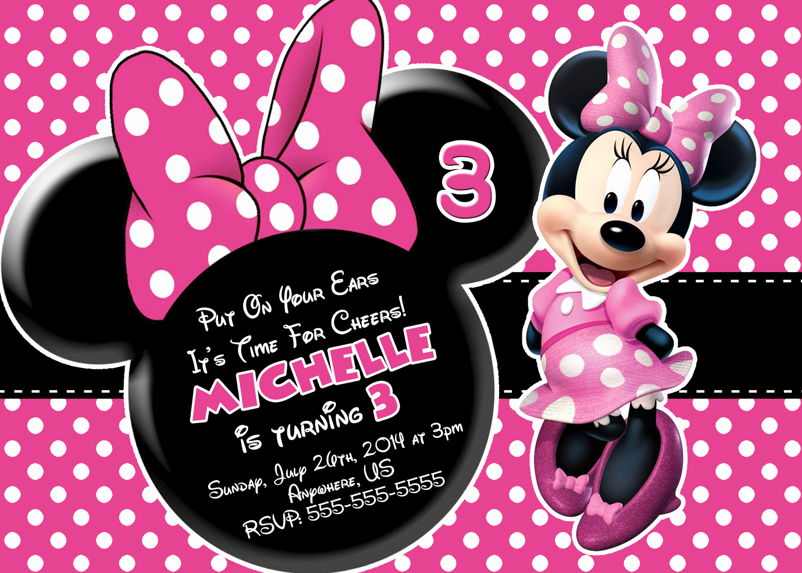 Minnie Mouse Invitation Template Free Beautiful Free Minnie Mouse Printable Birthday Invitations