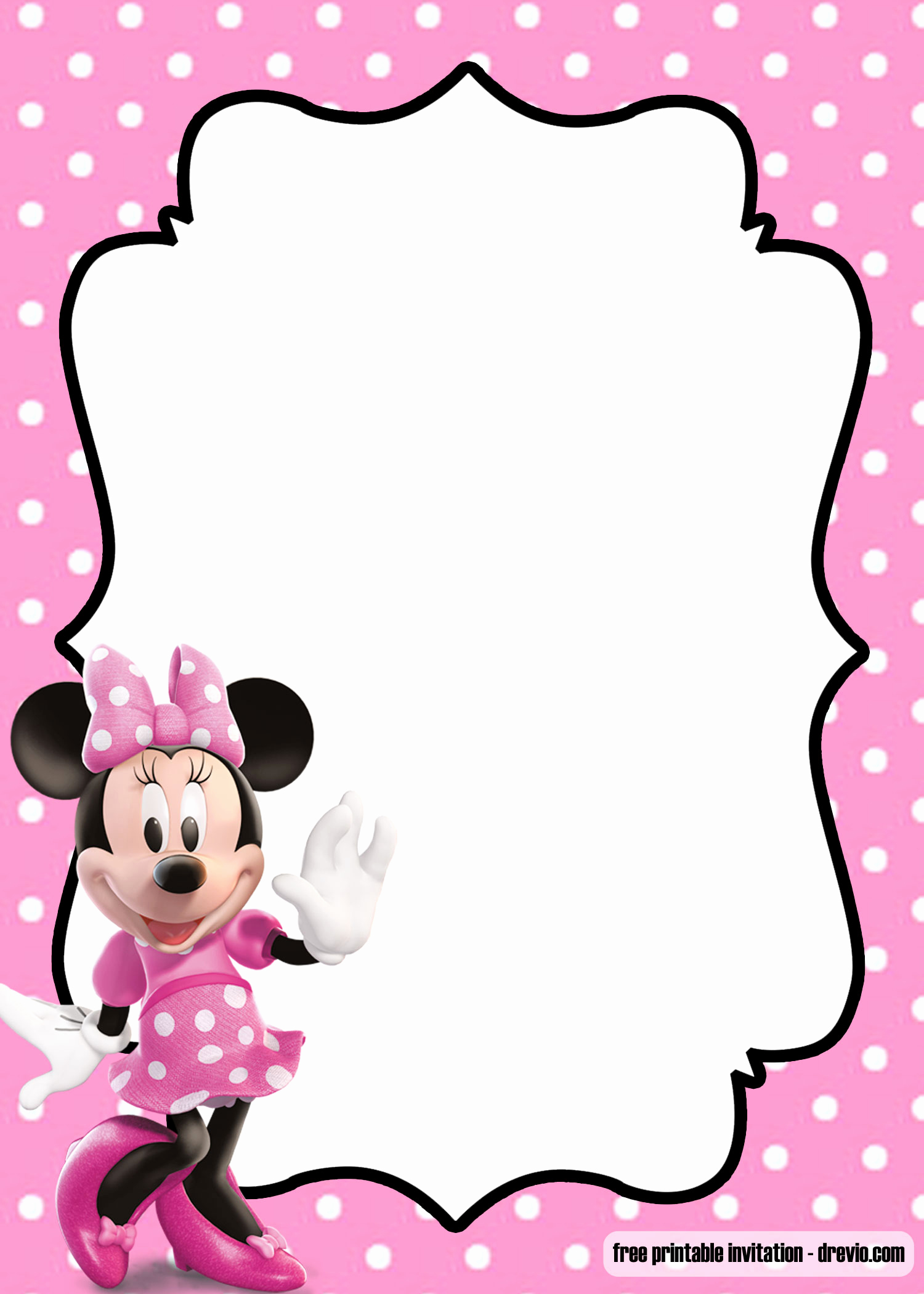 Minnie Mouse Invitation Template Free Best Of Free Polka Dot Pink Minnie Mouse Invitation Template