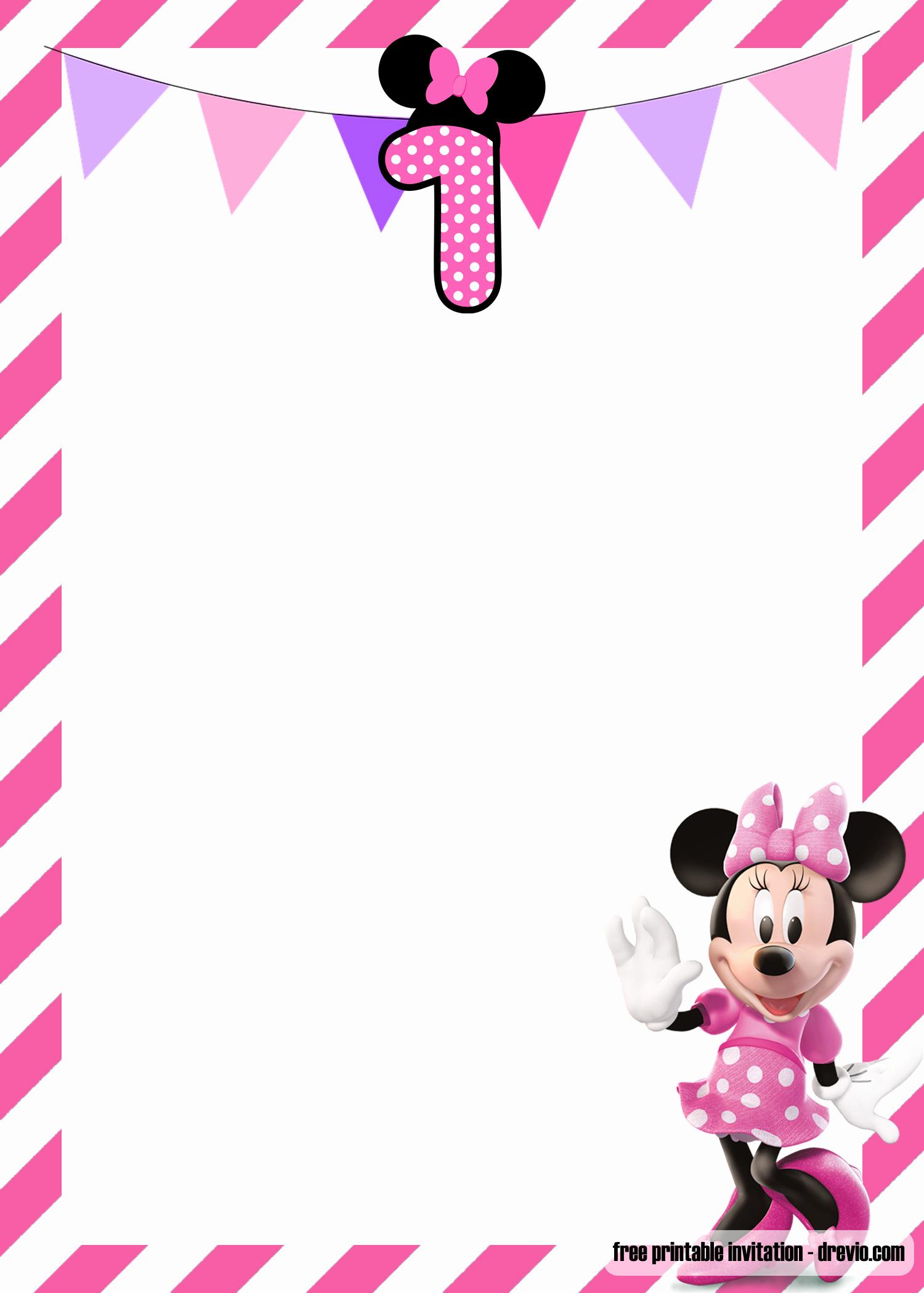 Minnie Mouse Invitation Template Free Elegant Free Minnie Mouse 1st Birthday Invitations Templates