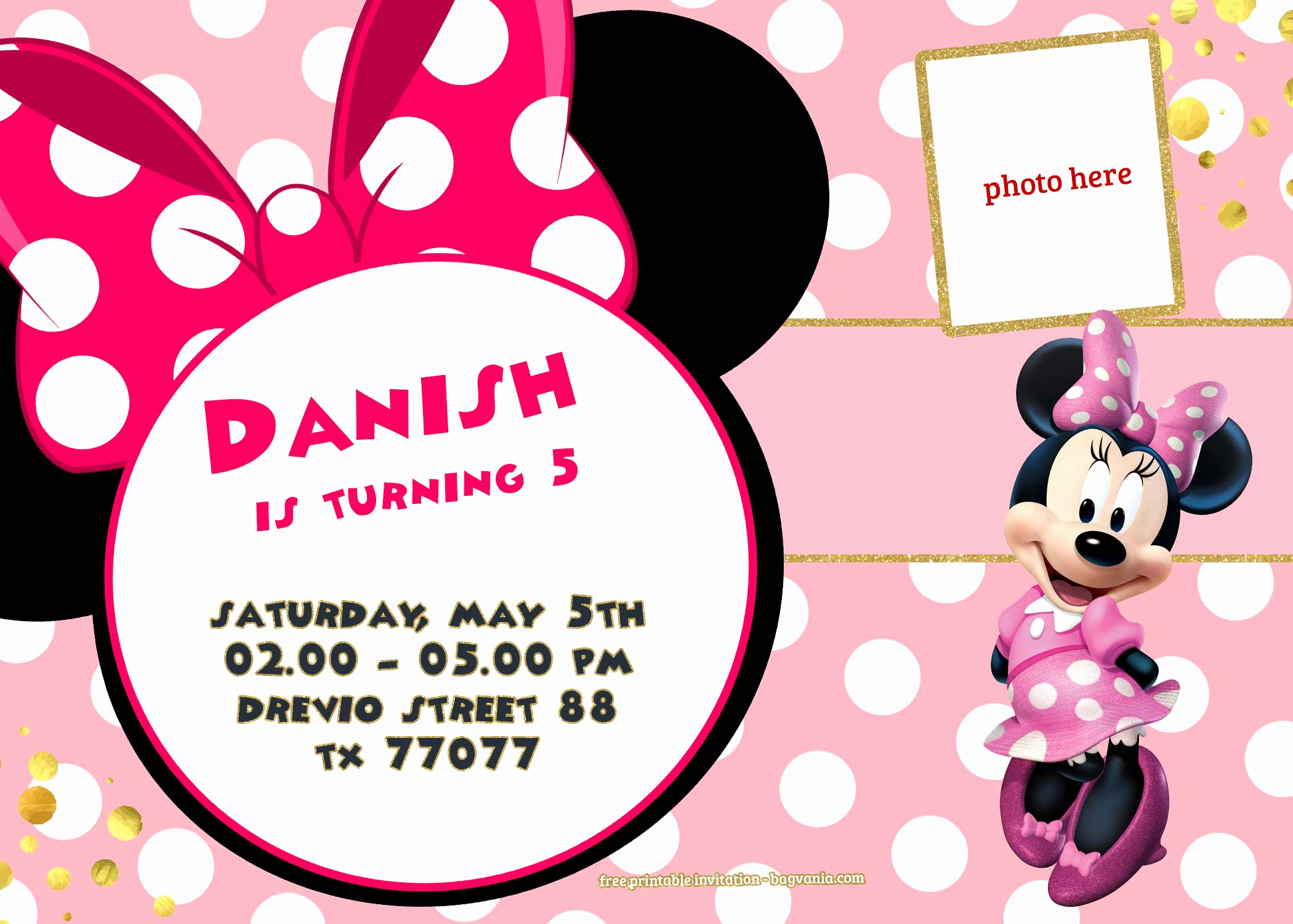 Minnie Mouse Invitation Template Free Elegant Free Printable Minnie Mouse Invitation Template – Polka