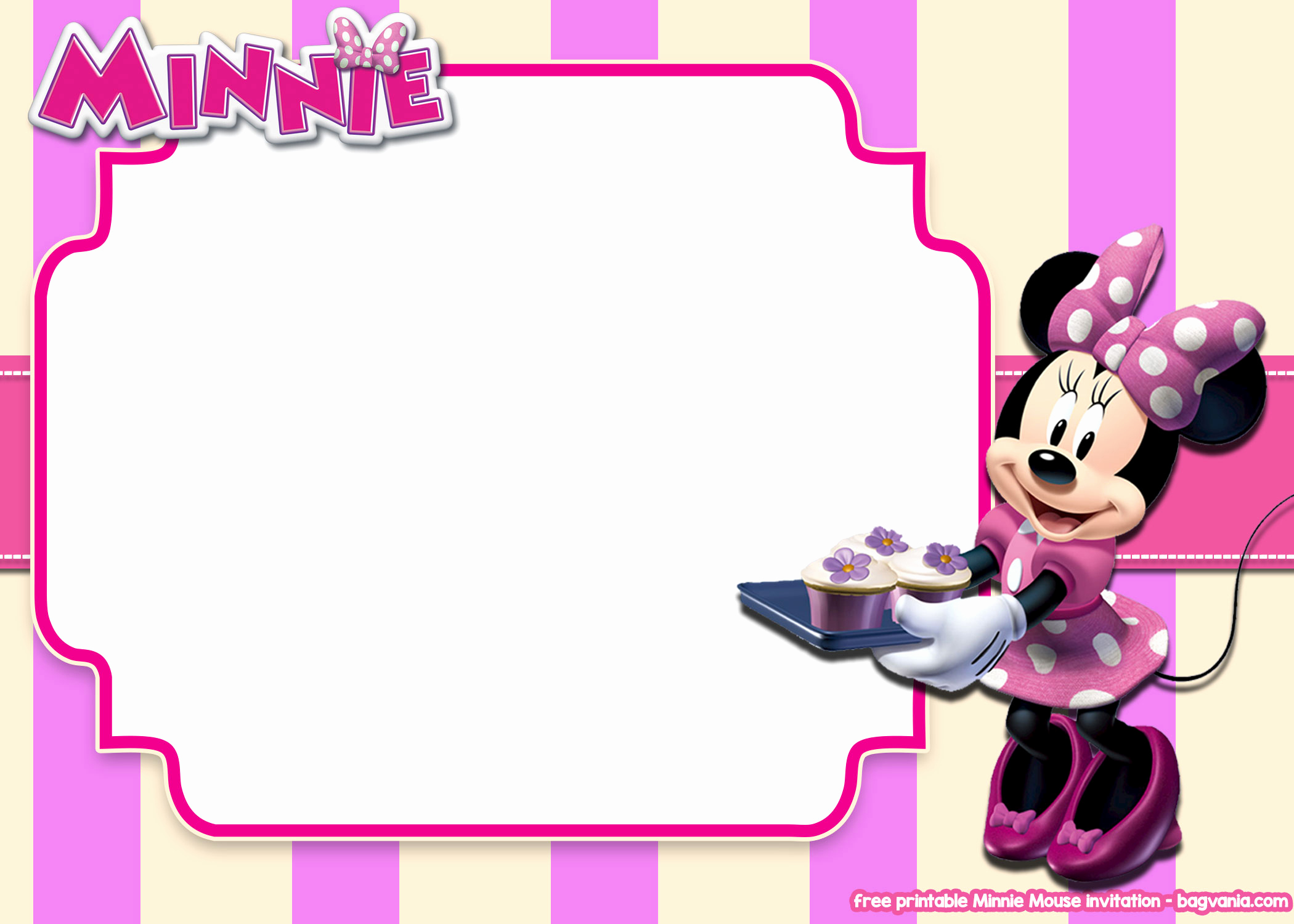 Minnie Mouse Invitation Template Free Lovely Free Printable Minnie Mouse Pink Invitation Templates