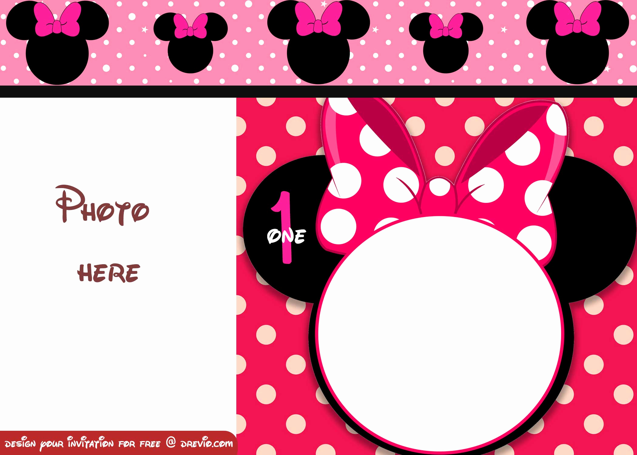 Minnie Mouse Invitation Template Fresh Free Minnie Mouse Polka Dot 1st Birthday Invitation