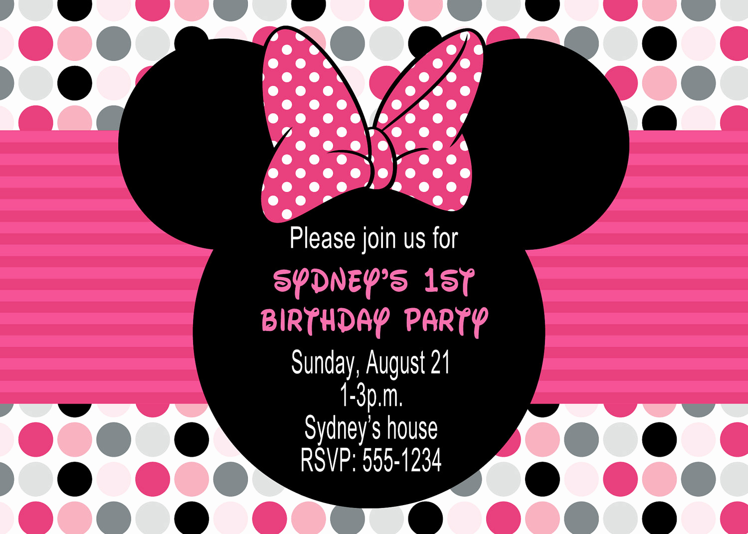 Minnie Mouse Invitation Template Luxury Minnie Mouse Birthday Party Invitations