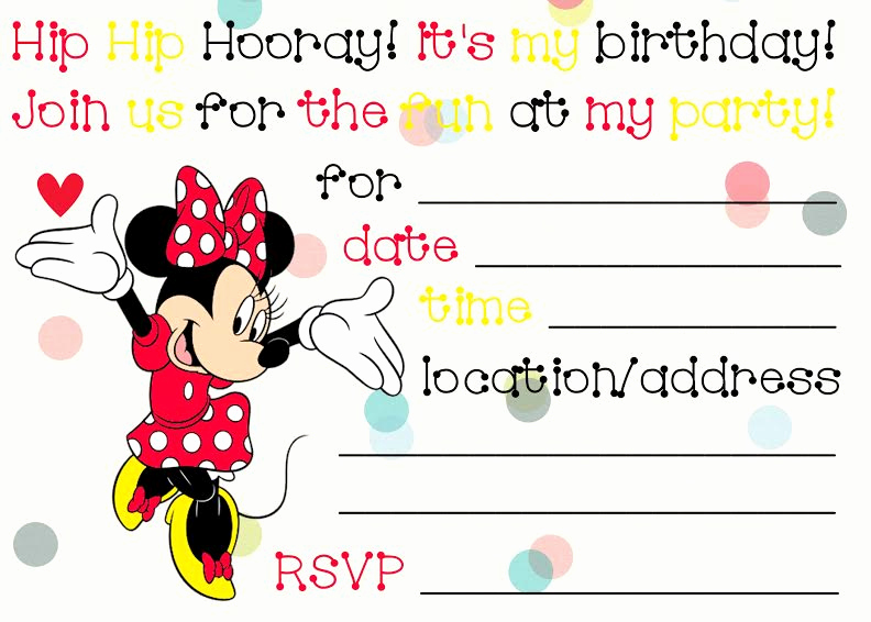 Minnie Mouse Invitation Template Online Awesome Printable Minnie Mouse Birthday Invitations – Bagvania
