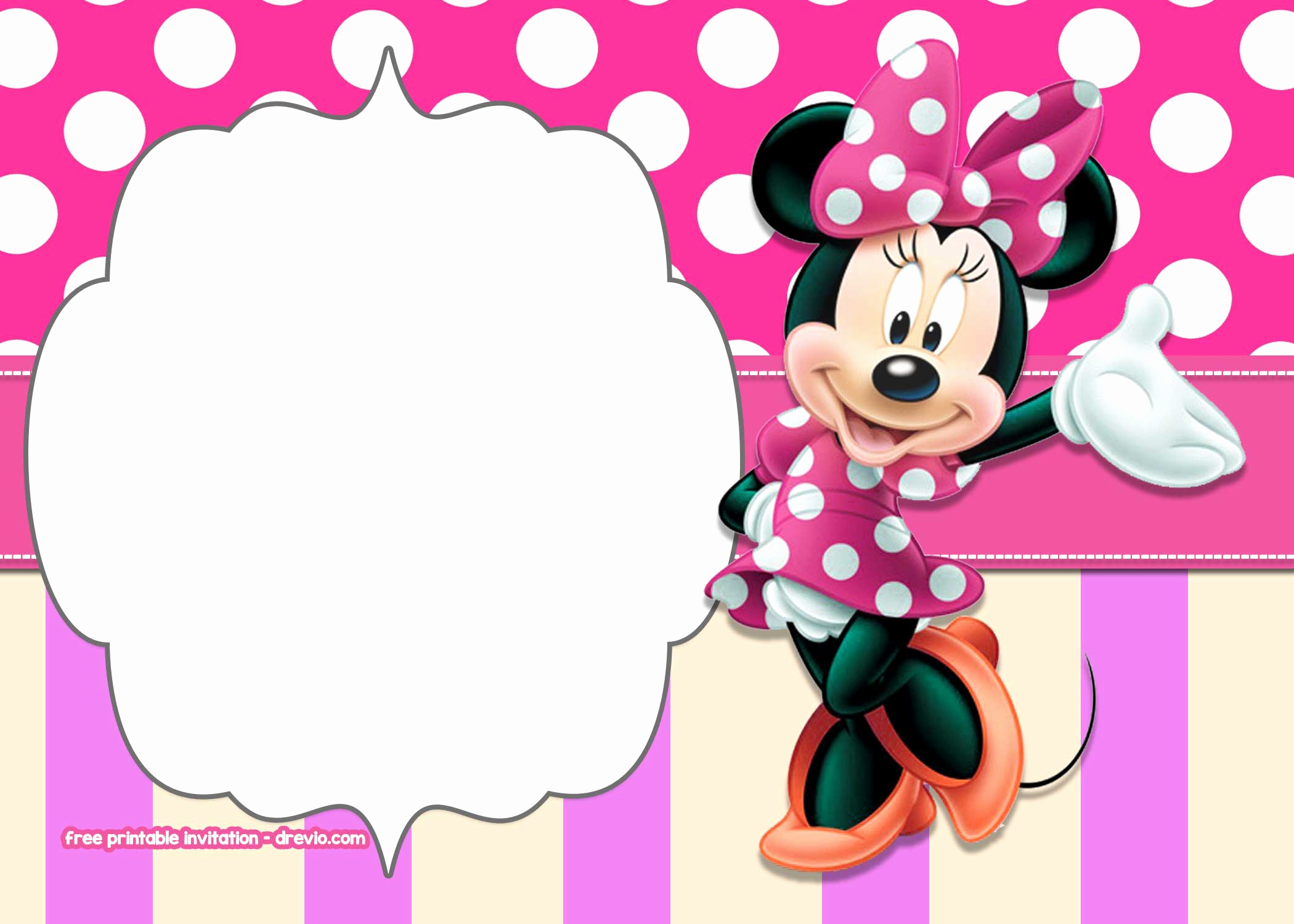 Minnie Mouse Invitation Template Online Elegant Minnie Mouse Polkadot Free Printable Invitation Templates
