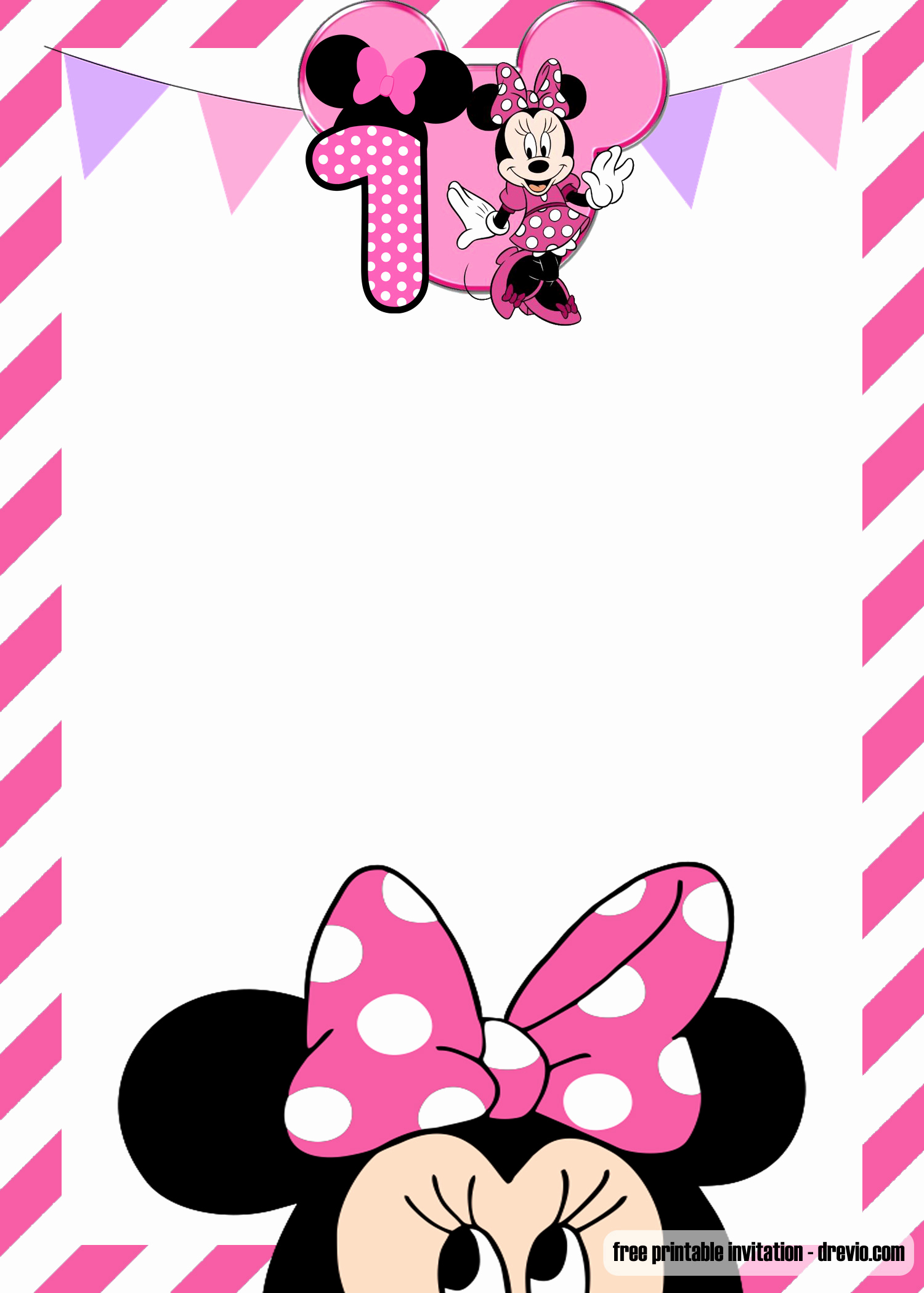 Minnie Mouse Invitation Template Online Inspirational Free Minnie Mouse 1st Birthday Invitation Templates – Free