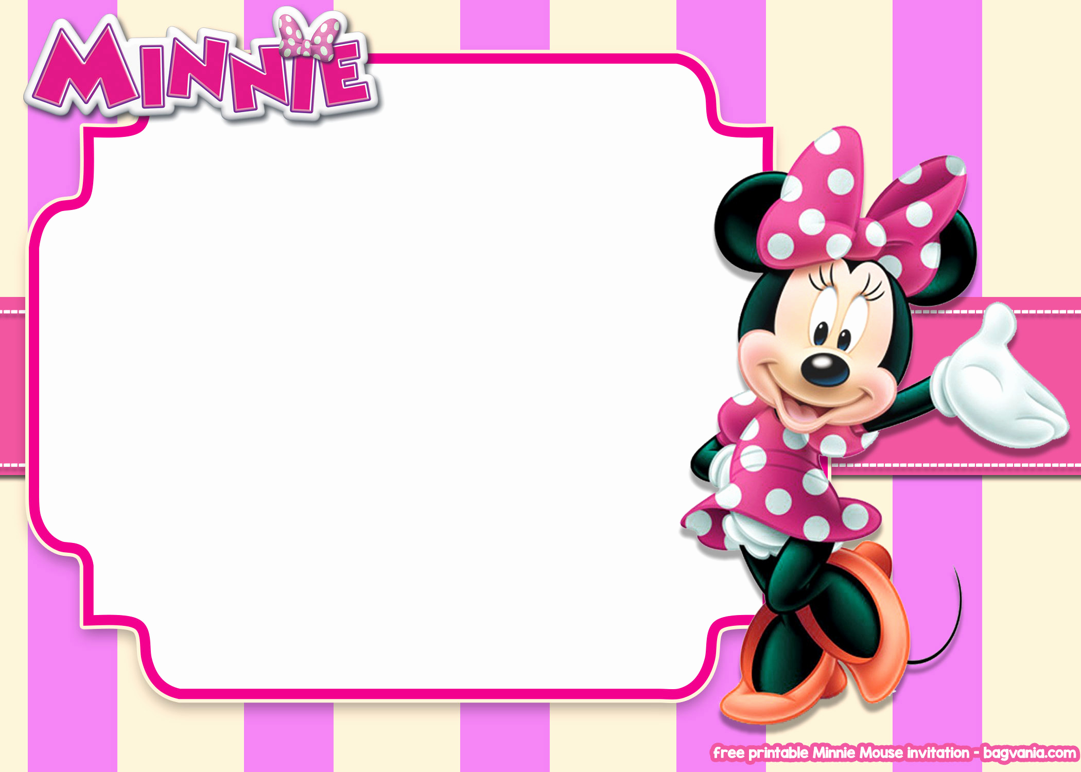Minnie Mouse Invitation Template Online Unique Free Printable Minnie Mouse Pink Invitation Templates