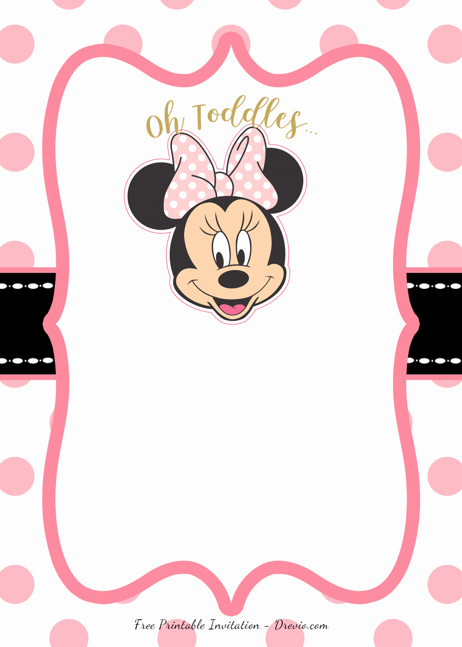 Minnie Mouse Invitation Template Unique Free Pink Minnie Mouse Birthday Party Diy Printable
