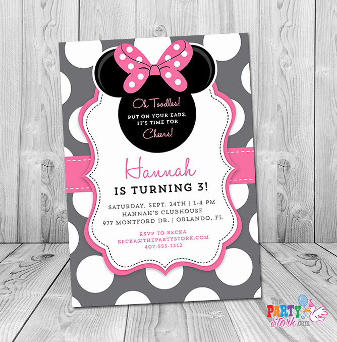 Minnie Mouse Invitation Wording Beautiful Minnie Mouse 3rd Birthday Invitation Minnie Mouse Birthday