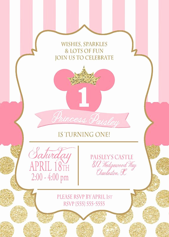 Minnie Mouse Invitation Wording Best Of Printable Princess Minnie Mouse Birthday Invitation File