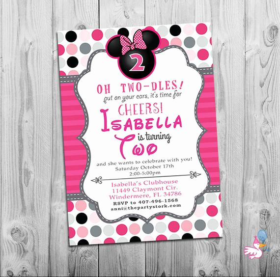 Minnie Mouse Invitation Wording Elegant Minnie Mouse Birthday Invitations Printable Girls Party