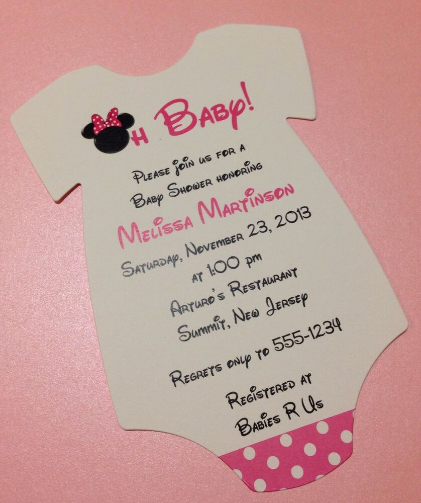 Minnie Mouse Invitation Wording Inspirational Pink Minnie Mouse Esie Baby Shower Invitation All
