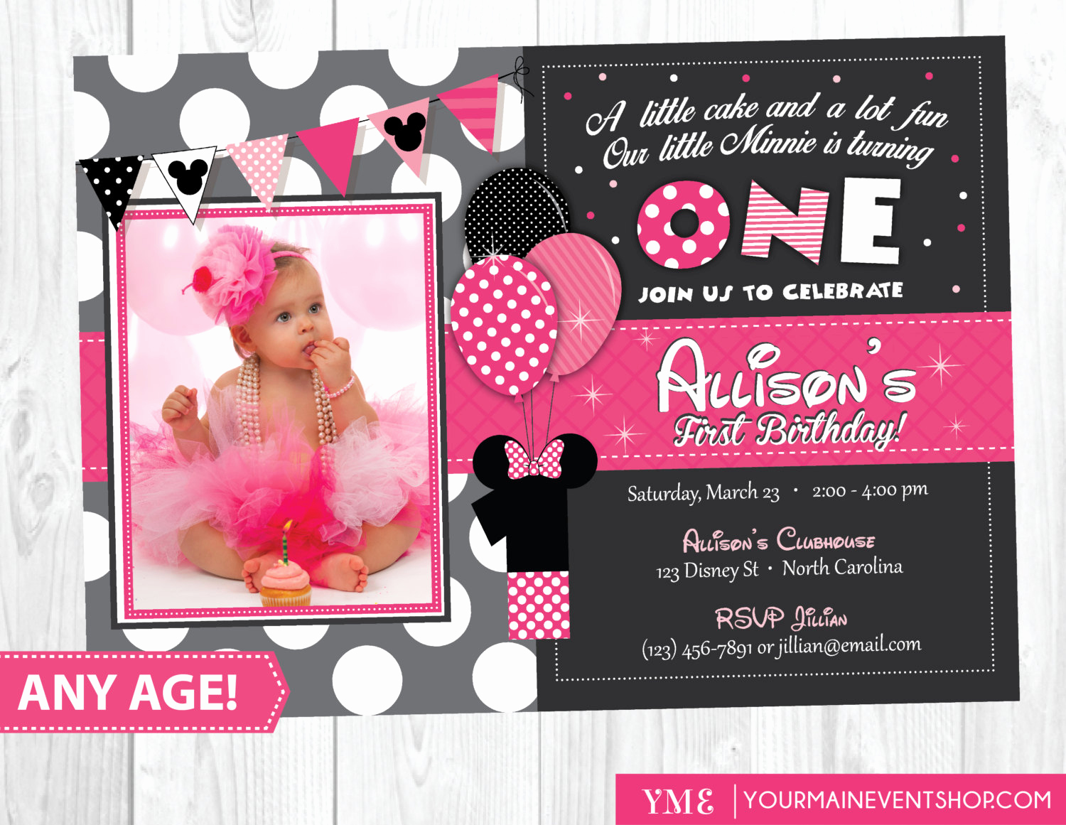 Minnie Mouse Invitation Wording Lovely Minnie Mouse Birthday Invitation Minnie Mouse Inspired