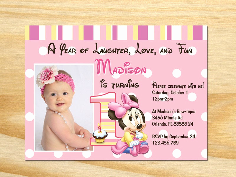 Minnie Mouse Invitation Wording Luxury Minnie Mouse First Birthday Invitation Printable