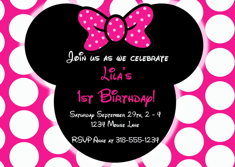 Minnie Mouse Invitation Wording New Free Editable Minnie Mouse Birthday Invitations