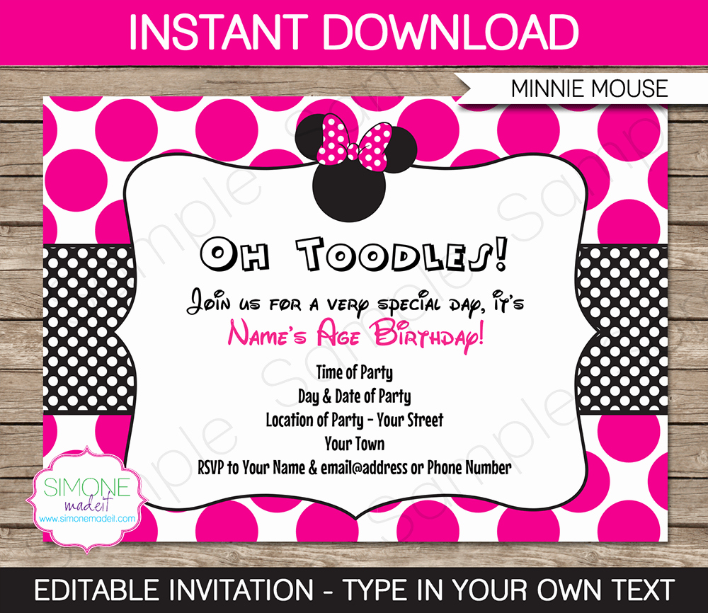 Minnie Mouse Invitation Wording Unique Minnie Mouse Party Invitations Template – Pink