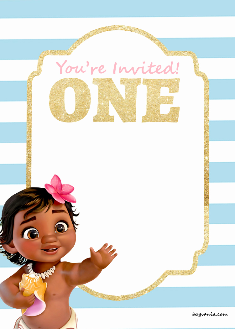 Moana Birthday Invitation Template Elegant Free Printable Disney Princess 1st Birthday Invitations