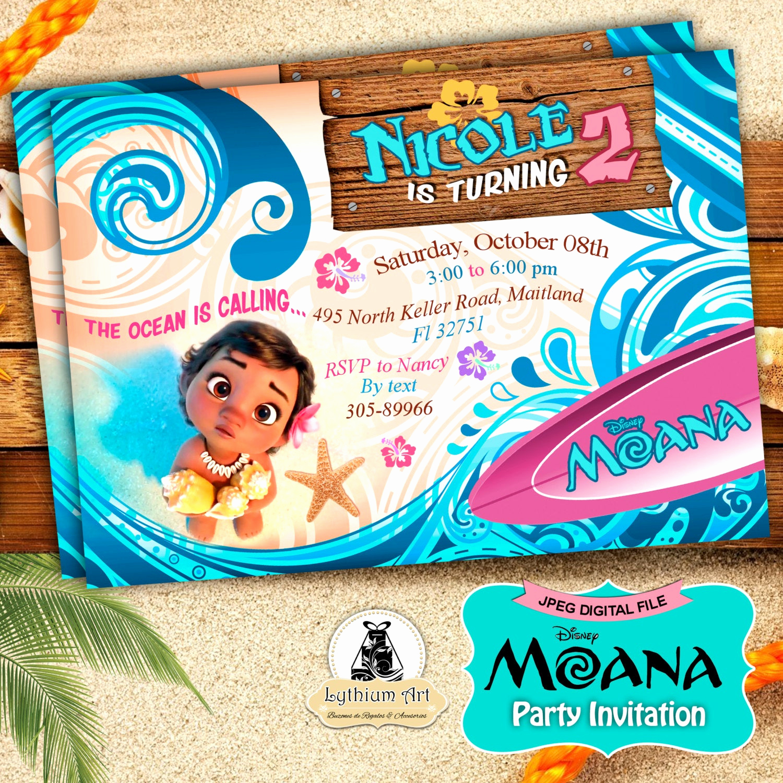 Moana Birthday Invitation Template Elegant Moana Invitation Moana Party Invitation Moana Birthday