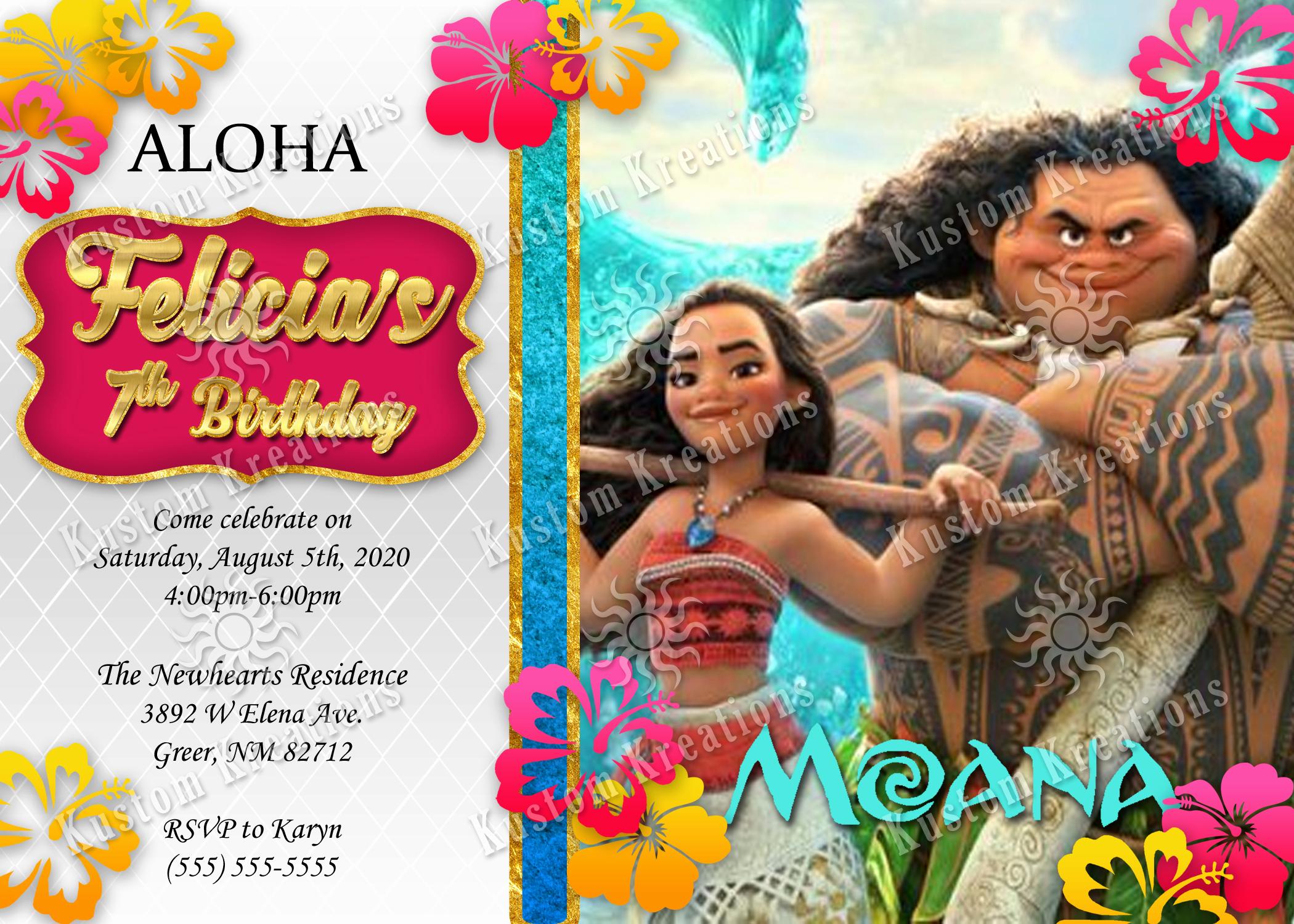 Moana Birthday Invitation Template Fresh Moana Birthday Invitations