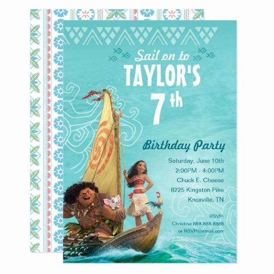 Moana Birthday Invitation Template Inspirational Moana Oceania Birthday Card