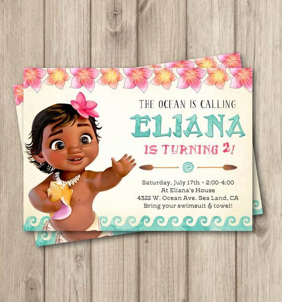 Moana Birthday Invitation Template Unique Moana Birthday Invitation Baby Moana Invitation Baby Moana