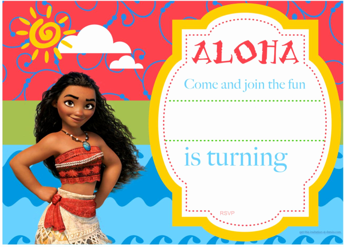 Moana Invitation Template Free Awesome Free Printable Moana Birthday Invitation and Party