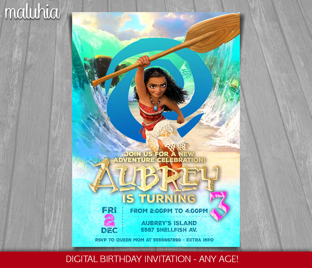 Moana Invitation Template Free Beautiful Moana Invitation Disney Moana Invite Moana Birthday