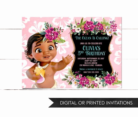 Moana Invitation Template Free Fresh Baby Moana Invitation Moana Invitation Moana Birthday