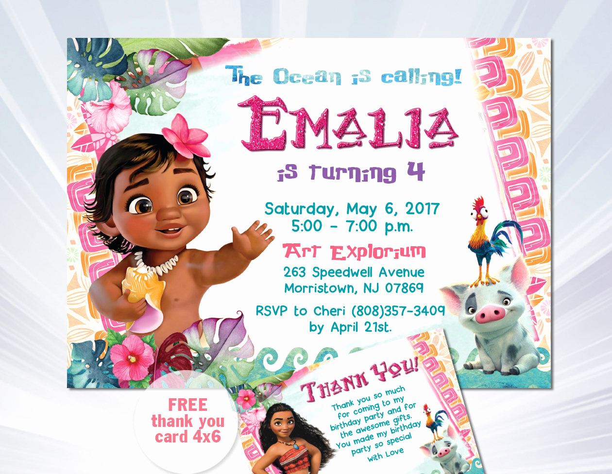 Moana Invitation Template Free Lovely Moana Birthday Invitation Baby Moana Invitation Baby Moana