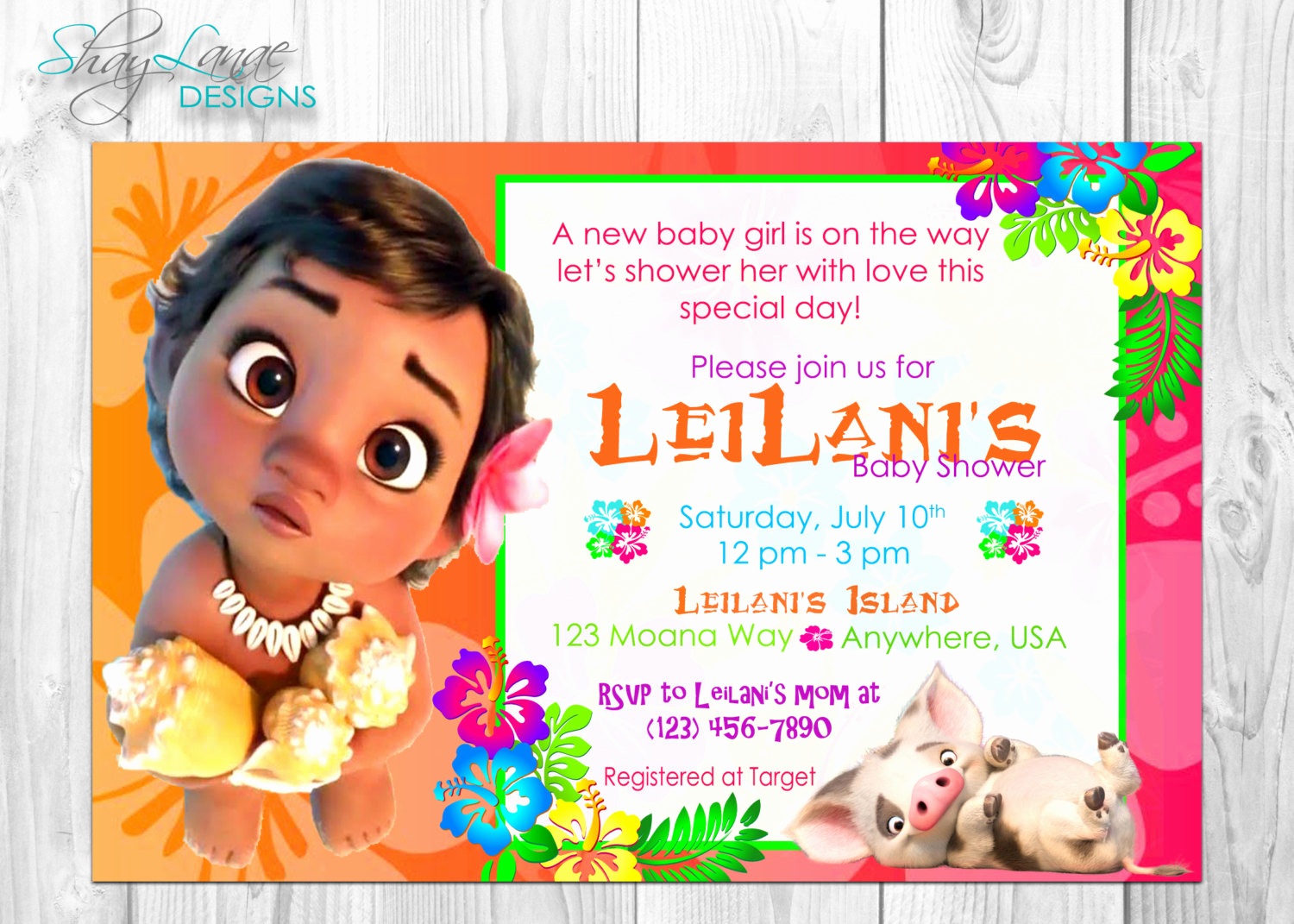 Moana Invitation Template Free Luxury Baby Moana Baby Shower Invitation