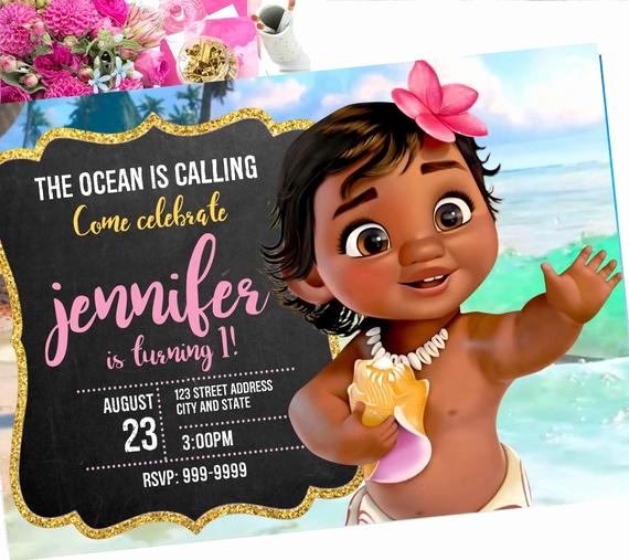 Moana Invitation Template Free New Baby Moana Birthday Invitation Baby Moana Invite Baby Moana