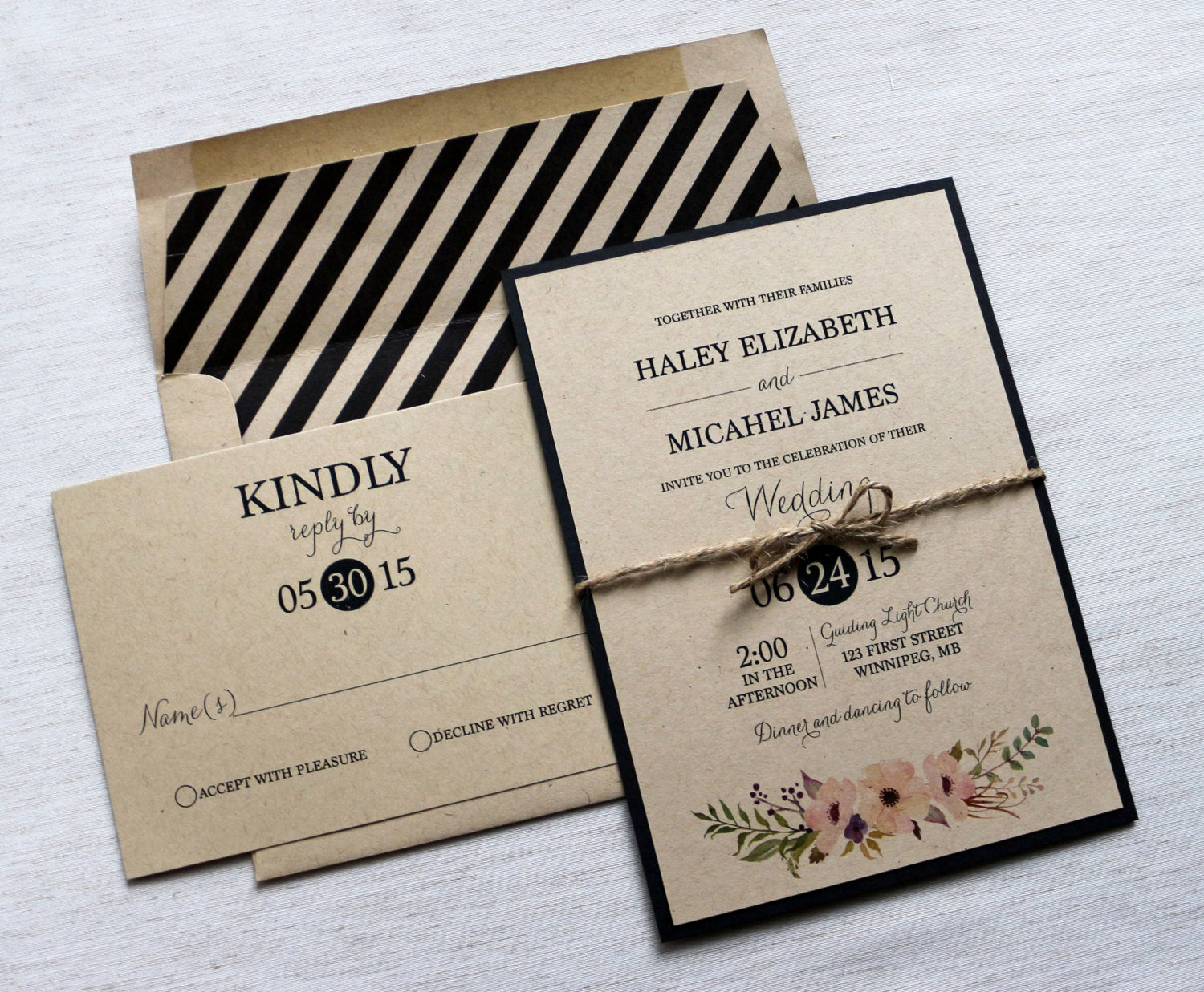 Modern Wedding Invitation Wording Awesome Modern Wedding Invitation Kraft Wedding Invitation Rustic