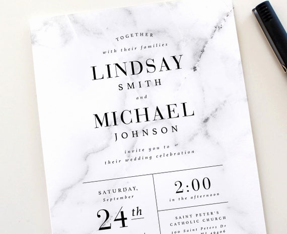 Modern Wedding Invitation Wording Best Of Modern Marble Wedding Invitation Set Marble Wedding Invite
