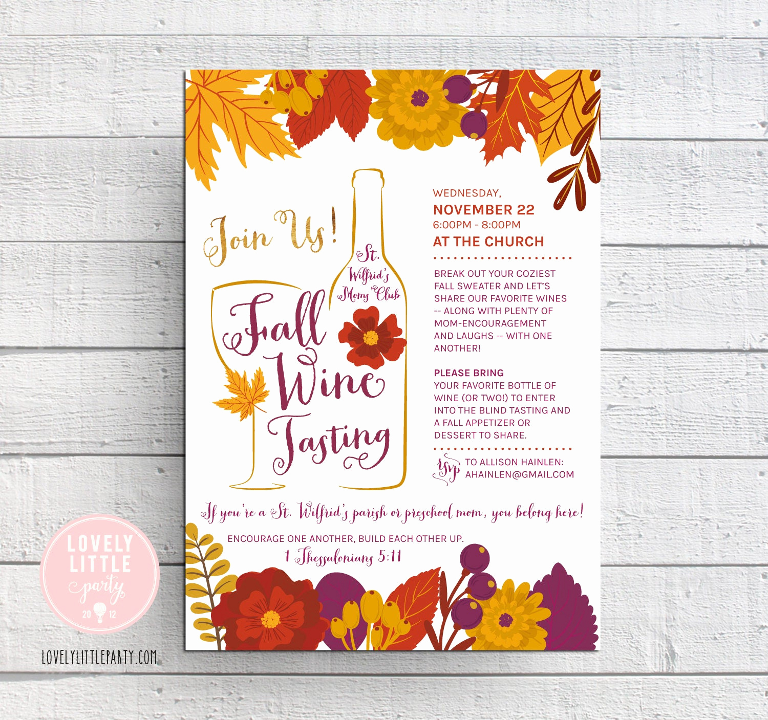 Moms Night Out Invitation Elegant Wine Tasting Invitation Fall Wine Tasting Fall Moms Night