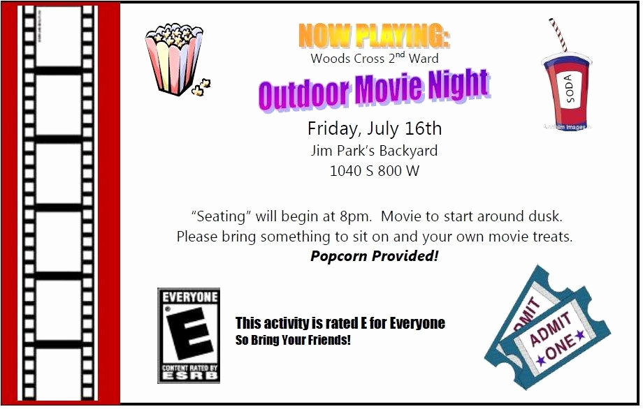 Moms Night Out Invitation Inspirational Ward Activity Ideas Outdoor Movie Night Families