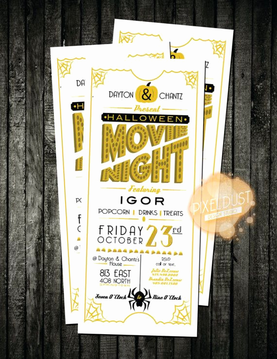 Moms Night Out Invitation Luxury Halloween Movie Night Invitation Flyer by