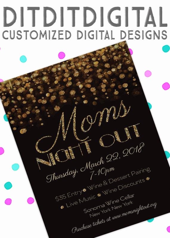 Moms Night Out Invitation Unique Glitter Mom S Night Out New Year S Holiday Meet