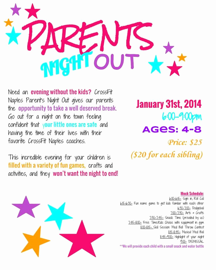 Moms Night Out Invitation Unique Parents Night Out Flyer Respite Pinterest
