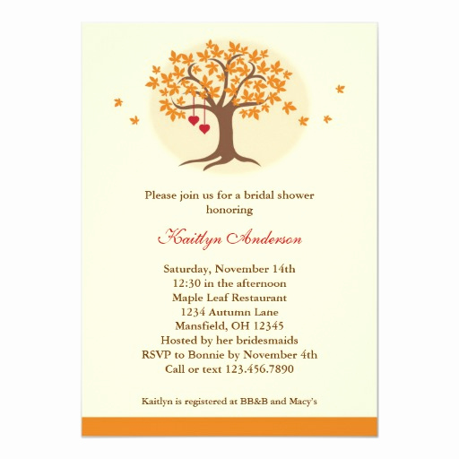 Money Tree Invitation Wording Lovely Fall Tree Bridal Shower Invitation
