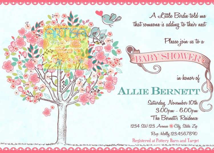 Money Tree Invitation Wording Lovely Tree Birds Baby Shower Invitation Bloom Birds and Tree Baby