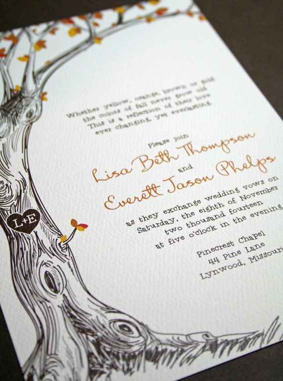 Money Tree Invitation Wording Luxury Sketched Tree Fall Wedding Invitation with Carved