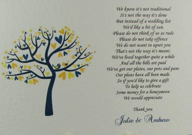 Money Tree Invitation Wording Unique 50 Personalised White Wedding Inserts Honeymoon Money Gift