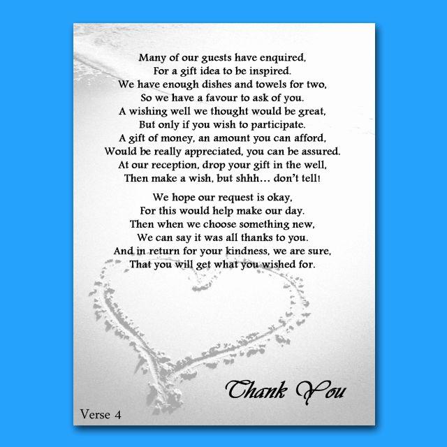 Money Tree Shower Invitation Wording Lovely Details About Wedding Money Gift Voucher Poem Cards for